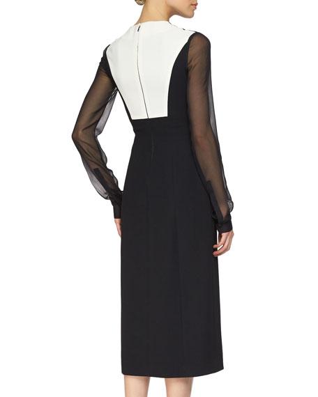Colorblock Sheer-Sleeve Midi Dress