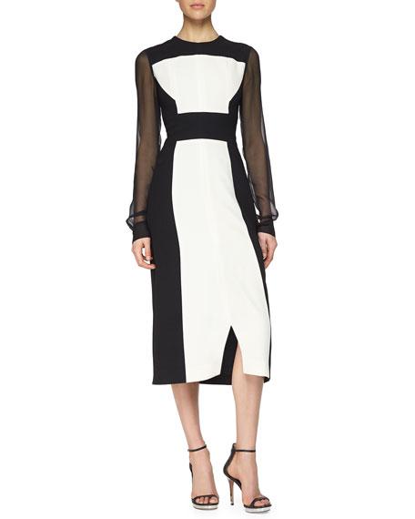 Prabal Gurung Colorblock Sheer-Sleeve Midi Dress