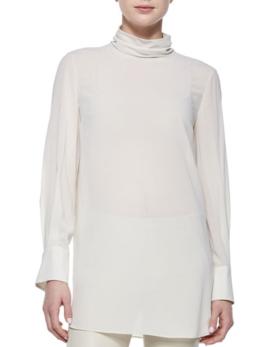 Ribbed Layered Turtleneck Tunic