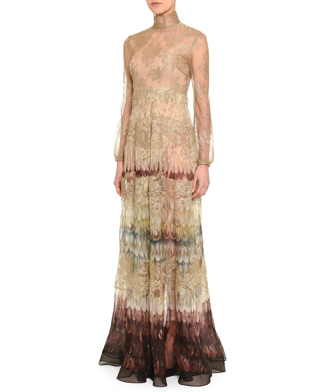 Valentino Angel Wings-Print Lace Gown | Neiman Marcus