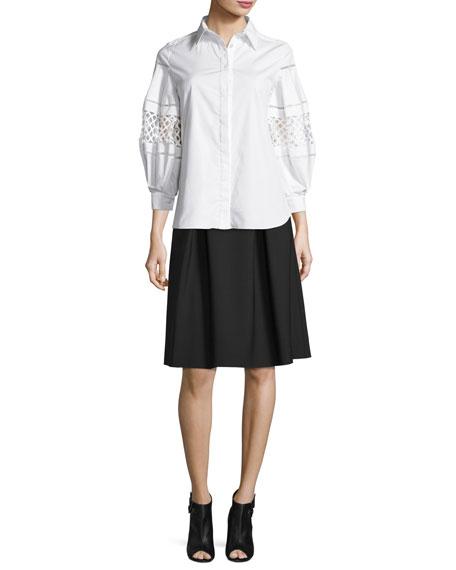 Carolina Herrera Double-Faced Box-Pleated Party Skirt