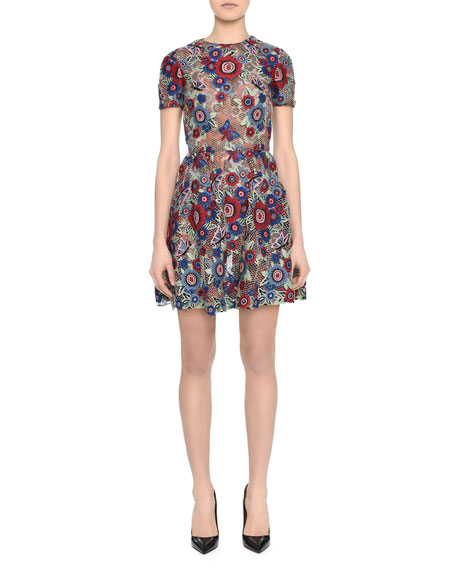 Valentino Short-Sleeve Jewel-Neck Lace Applique Dress, Floral