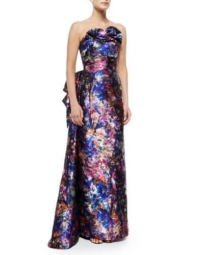 Strapless Floral-Jacquard Drape Gown, Floral