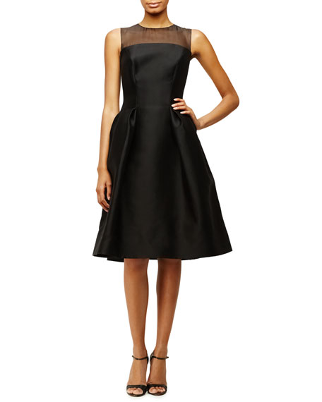 Carolina Herrera Sleeveless Sheer-Yoke Cocktail Dress, Black