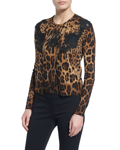 Lace-Inset Animal-Print Cardigan, Black/Natural