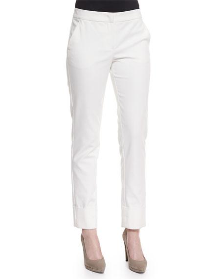 Armani Collezioni Slim-Leg Cuff Pants, White