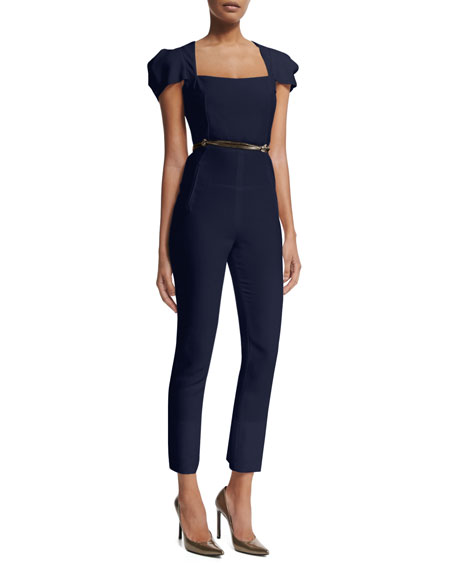Galaxy Square-Neck Jumpsuit, Navy
