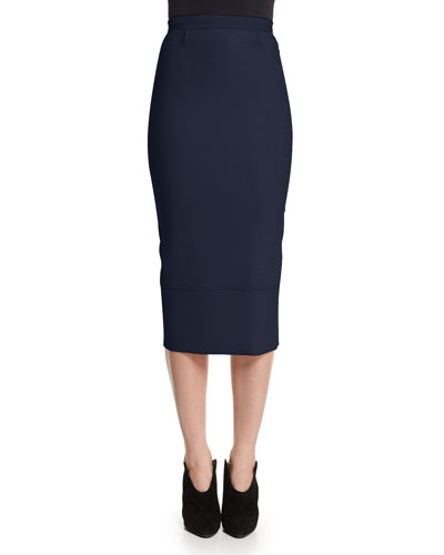 Galaxy Fitted Pencil Skirt, Navy