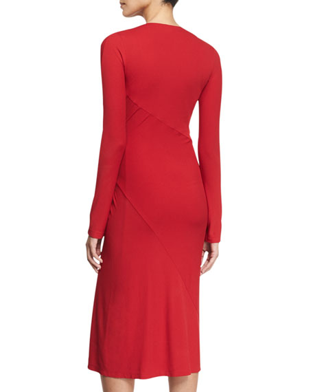 Long-Sleeve Drape Dress, Lacquer