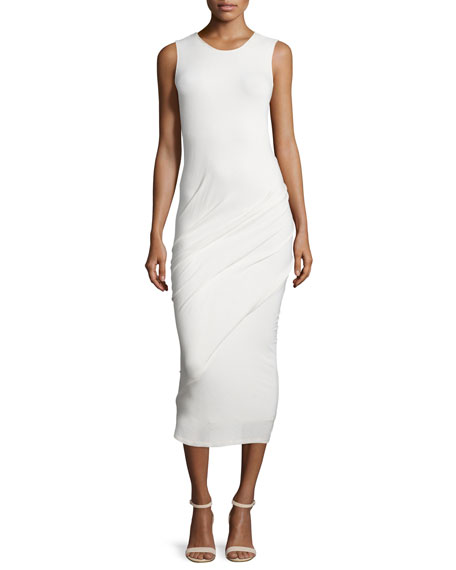 Donna Karan Sleeveless Ruched Midi Dress, Ivory