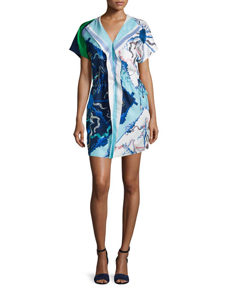 Escada Short-Sleeve Printed Mini Dress, Blue/White