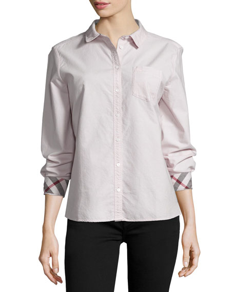 Burberry Brit Long-Sleeve Oxford Shirt, Pink
