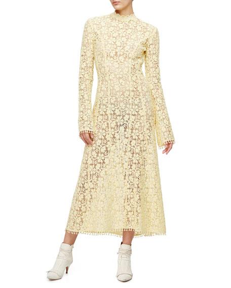 Derek Lam Victorian-Lace Midi Gown, Lemongrass