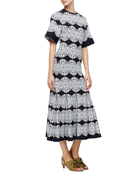 Derek Lam Medallion-Lace Flared Dress, Black/Multi Colors