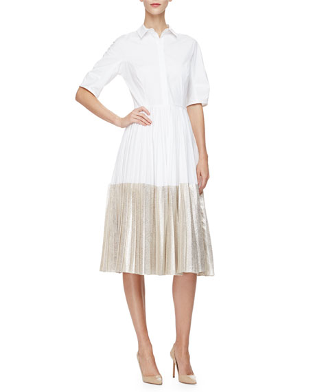 Lela Rose Half-Sleeve Two-Tone Midi Shirtdress, Champagne