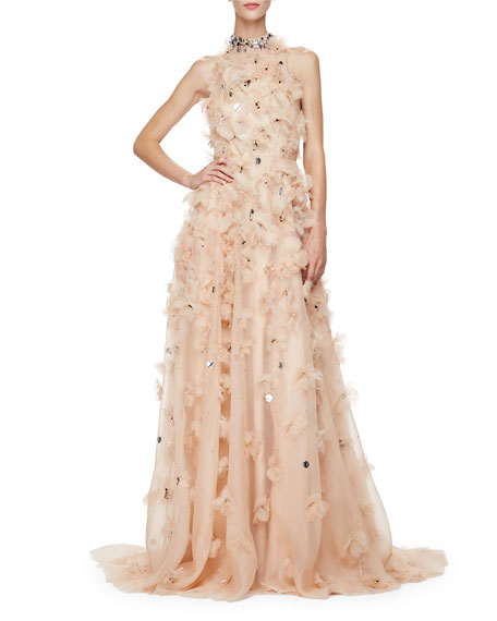 Lela Rose Halter-Neck Embellished-Floral Gown, Nude/Multi