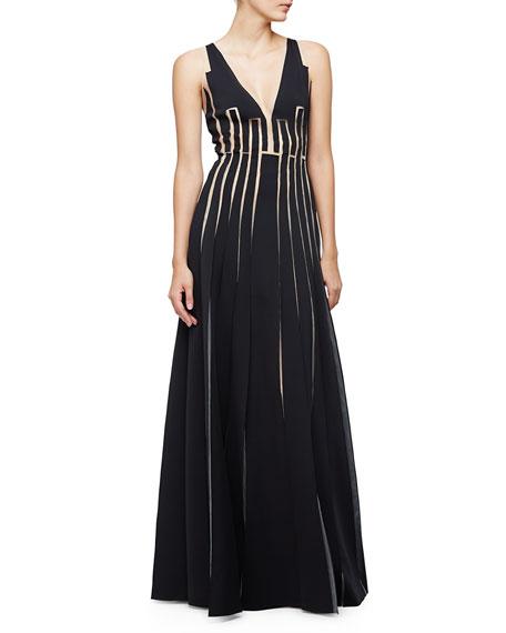Carolina Herrera Sleeveless A-Line Gown W/Cutouts, Black