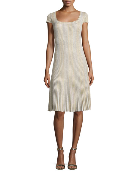 Kiklos Shimmery Scoop-Neck Flared Dress, Alabaster/Gold