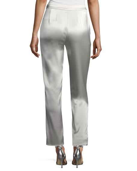 Emma Liquid Satin Cropped Pants, Platinum