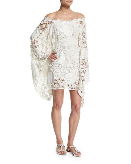 Chloe Macrame Sheath Dress W/Flared Sleeves, Milk