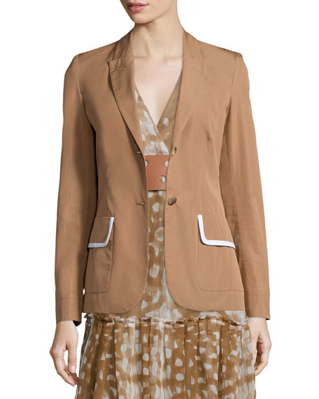 Agnona Two-Button Jacket W/Contrast Trim, Caramel