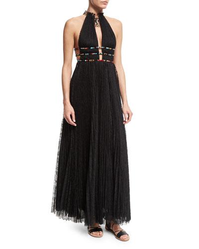 Halter-Neck Lace Gown W/Elephant Necklace, Black