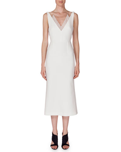 Shannon Layered V-Neck Dress, White