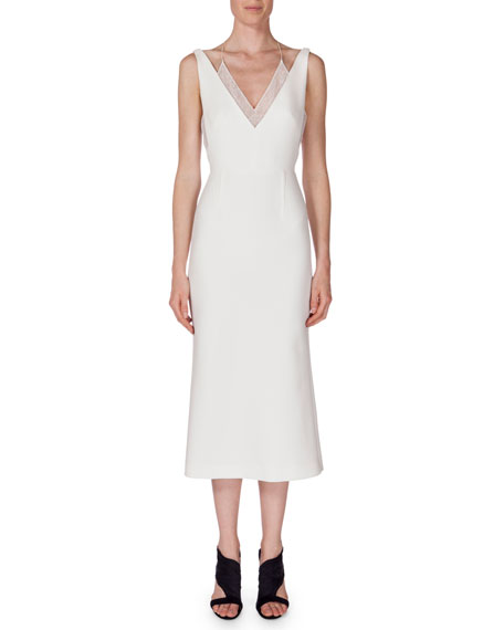 Roland Mouret Shannon Layered V-Neck Dress, White