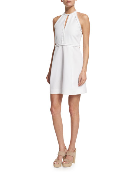 Victoria by Victoria Beckham Sleeveless Frayed-Trim Dress, White