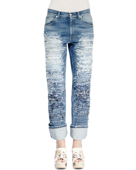 Slashed Embroidered Slim-Leg Jeans, Medium Vintage Wash