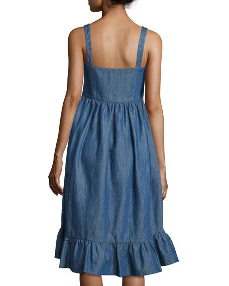 Empire-Waist Denim Tank Dress, Pale Blue