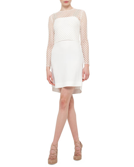 Akris punto Long-Sleeve Jersey T-Shirt Dress, Cream