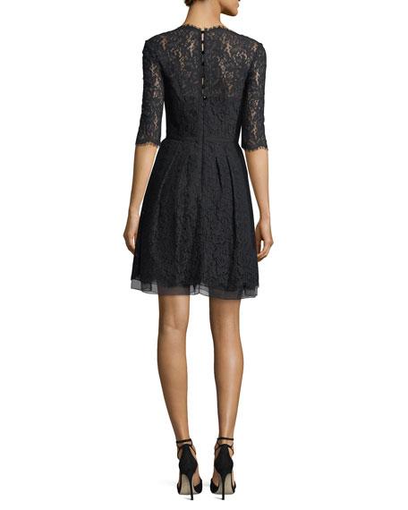Half-Sleeve V-Neck Lace Cocktail Dress, Black