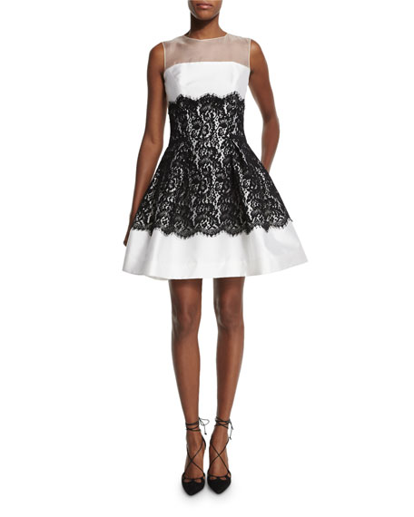 Carolina Herrera Sleeveless Mikado-Lace Cocktail Dress, White/Black
