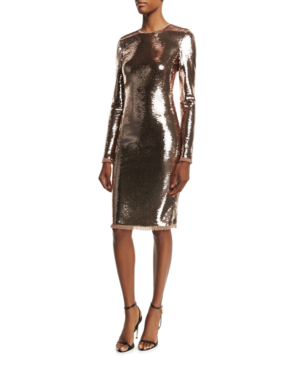 TOM FORD Long-Sleeve Liquid Sequin Dress, Nude | Neiman Marcus