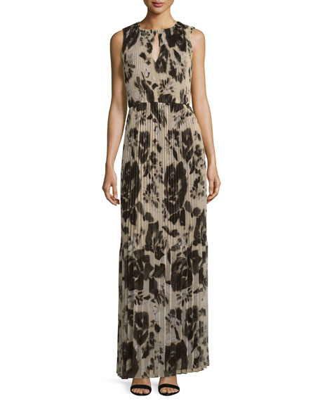 Floral Pleated Sleeveless Maxi Dress, Alabaster/Multi