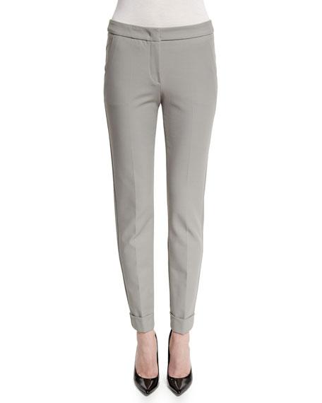 Armani Collezioni Stretch-Cuff Slim-Leg Ankle Pants, Light Gray