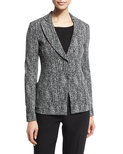 Fitted Cotton-Blend Herringbone Jacket, Black/Multi