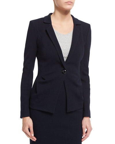Side-Ruching One-Button Jacket, Midnight Blue