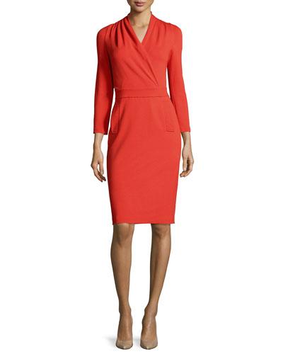 Bracelet-Sleeve Surplice-Front Sheath Dress, Matisse Red