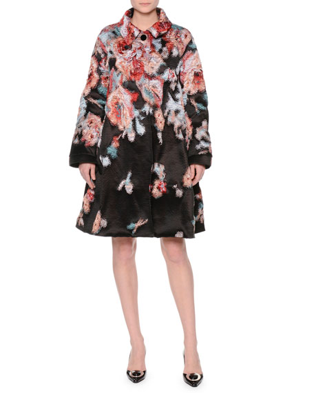 Textured Floral-Print A-Line Coat, Fantasia