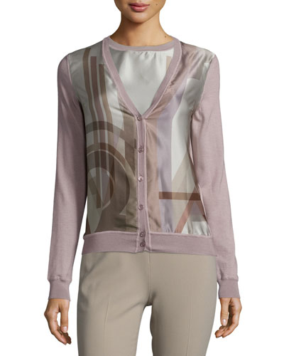 Long-Sleeve Button-Front Cardigan, Lilac/Multi