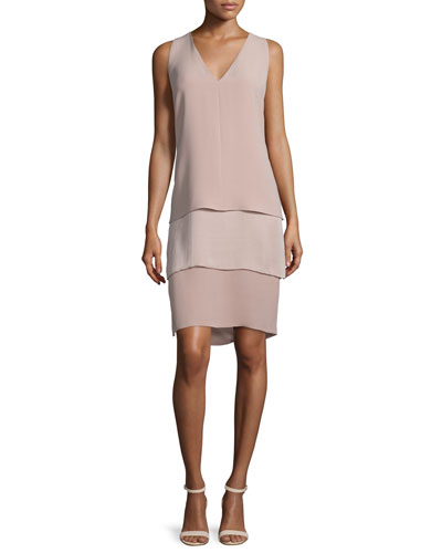 Belinda Sleeveless Tiered Dress, Rose