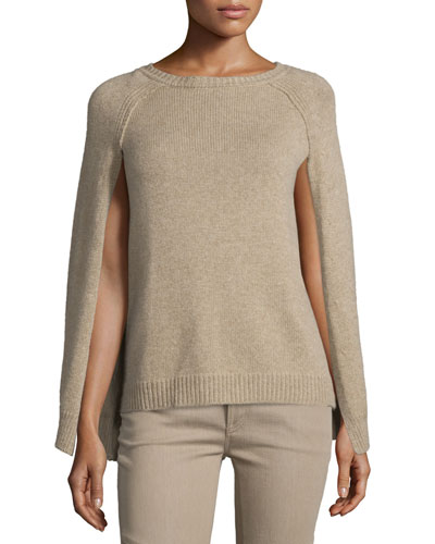 Knit Cashmere Cape-Sleeve Sweater, Oatmeal