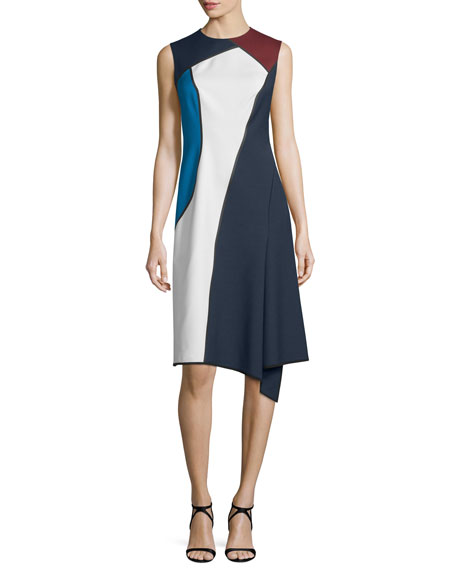Escada Sleeveless Jewel-Neck Colorblock Dress, Midnight Blue
