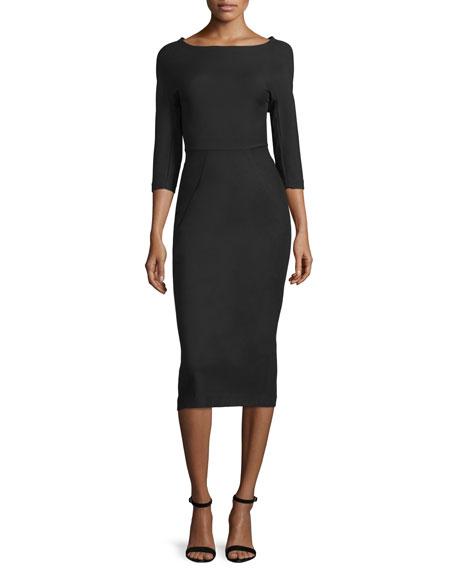 Audrey Elbow-Sleeve Dress, Black