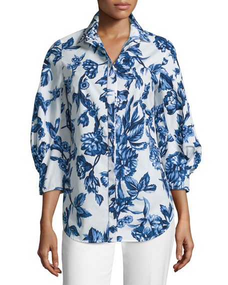 Floral-Print Day Blouse, Blue/Ivory