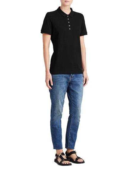 Slim-Fit Polo Shirt with Check Trim, Black