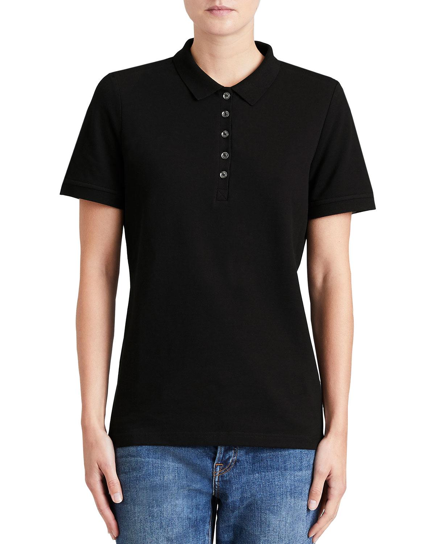 f6a51307 Burberry Slim-Fit Polo Shirt with Check Trim, Black   Neiman Marcus