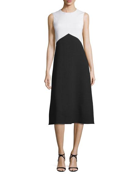 Narciso Rodriguez Sleeveless Jewel-Neck Colorblock Dress, White/Black